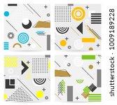 trendy memphis style geometric... | Shutterstock .eps vector #1009189228
