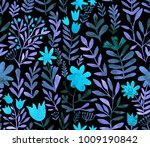 watercolor floral seamless... | Shutterstock . vector #1009190842