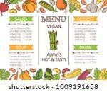 vintage vegetarian food menu... | Shutterstock .eps vector #1009191658