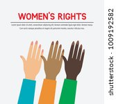 women's rights concept. three... | Shutterstock .eps vector #1009192582