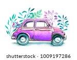 vinage car  funny watercolor... | Shutterstock . vector #1009197286