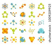 molecule icon set. flat set of... | Shutterstock .eps vector #1009209925