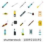 smoking icon set. flat set of... | Shutterstock .eps vector #1009210192