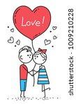 happy valentines card. guy is... | Shutterstock .eps vector #1009210228