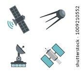 sattelite icon set. flat set of ... | Shutterstock .eps vector #1009210552