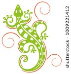 green lizard with swirls....   Shutterstock .eps vector #1009221412