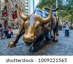 Charging Bull Statue At...