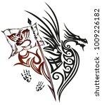 fantasy dragon with footprints  ...   Shutterstock .eps vector #1009226182