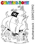 coloring book with pirate ship... | Shutterstock .eps vector #100922992
