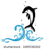 jumping dolphin with wave....   Shutterstock .eps vector #1009230202