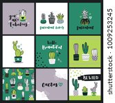 set of cute cactus lover... | Shutterstock .eps vector #1009253245