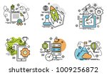 set of outline icons of... | Shutterstock .eps vector #1009256872