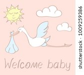 congratulations card with stork ... | Shutterstock .eps vector #1009259386