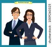 businesswoman and businessman... | Shutterstock .eps vector #1009260325