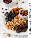 nuts and dried fruit mix ...   Shutterstock . vector #1009265122