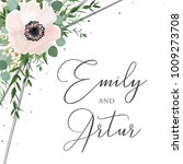 wedding floral watercolor style ... | Shutterstock .eps vector #1009273708