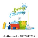 spring cleaning products and... | Shutterstock .eps vector #1009283935