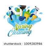 spring cleaning splash soap air ... | Shutterstock .eps vector #1009283986