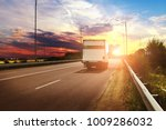 white box truck on the... | Shutterstock . vector #1009286032
