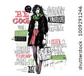 banner with  trendy girl in... | Shutterstock .eps vector #1009291246