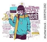 banner with  trendy girl in... | Shutterstock .eps vector #1009291282