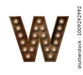 rusted metal letter w light... | Shutterstock . vector #1009292992