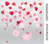 hearts confetti and rose petals ... | Shutterstock .eps vector #1009309696