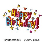 happy birthday cartoon text   Shutterstock . vector #100931266