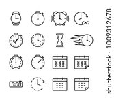 time icons set thin line on...   Shutterstock .eps vector #1009312678
