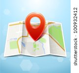 city map with marker  vector... | Shutterstock .eps vector #100932412
