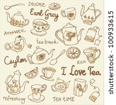 tea cups and teapots sketchy... | Shutterstock .eps vector #100933615