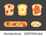 set toasts and sandwich... | Shutterstock . vector #1009356166