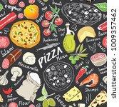 pizza seamless pattern hand... | Shutterstock .eps vector #1009357462
