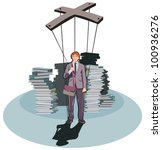 puppet businessman | Shutterstock .eps vector #100936276