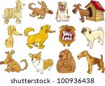 Stock vector cartoon illustration of funny different dogs set 100936438