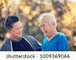 a son take care his father 80... | Shutterstock . vector #1009369066