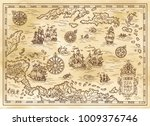 ancient pirate map of the... | Shutterstock .eps vector #1009376746