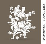 soccer player team composition  ... | Shutterstock .eps vector #1009381366