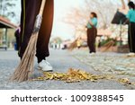 Young Girl Sweeping Dried Leaf...
