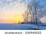 Cold White Winter Landscape At...