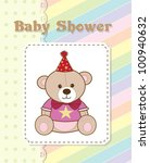 baby shower card with cute bear | Shutterstock .eps vector #100940632