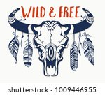 hand drawn buffalo skull with... | Shutterstock .eps vector #1009446955