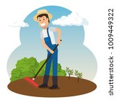 farmer working in the garden | Shutterstock .eps vector #1009449322