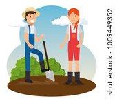 couple of young gardeners doing ... | Shutterstock .eps vector #1009449352