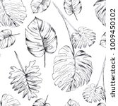 tropical leaves illustrations... | Shutterstock . vector #1009450102