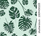 tropical leaves illustrations... | Shutterstock . vector #1009450105