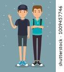 two handsome man milennials... | Shutterstock .eps vector #1009457746