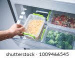 woman taking container with... | Shutterstock . vector #1009466545