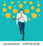 businessman running with coins  ... | Shutterstock .eps vector #1009467628