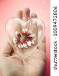 Glass Heart With A Red Flower...